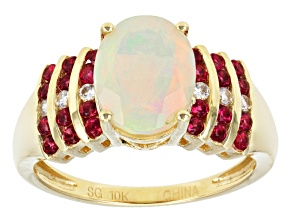 Pre-Owned Ethiopian Opal 10k Yellow Gold Ring 1.83ctw