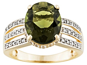 Pre-Owned Green Moldavite, Diamond And White Zircon 10k Yellow Gold Ring 2.69ctw.