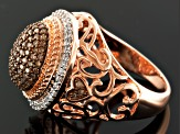Pre-Owned Champagne And White Diamond 18k Rose Gold Over Silver Ring .75ctw