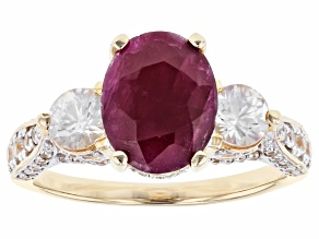 Pre-Owned 10k 3.19ct Cush Ruby/ 1.78ctw Rd Wht Zir/ Rg /Sz 8 /Not Szbl