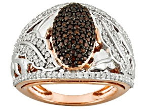 Pre-Owned Red And White Diamond Two Tone Sterling Silver Ring1.00ctw