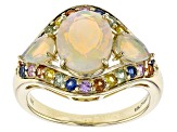 Pre-Owned Ethiopian Opal 10k Yellow Gold Ring 2.42ctw