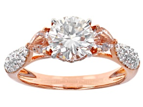 Pre-Owned Moissanite Fire® 1.54ctw DEW And .38ctw Morganite 14k Rose Gold Over Silver Ring