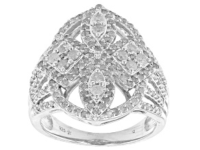 Pre-Owned Diamond Sterling Silver Cluster Ring 1.32ctw