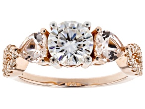 Pre-Owned Moissanite Fire® 1.46ctw DEW Round And .80ctw Heart Shape Morganite 14k Rose Gold Over Sil