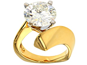 Pre-Owned Moissanite Ring 14k Yellow Gold Over Silver 4.75ct DEW