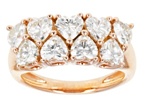 Pre-Owned Moissanite Heart Ring14k Rose Gold Over Sterling Silver 3.06ctw DEW