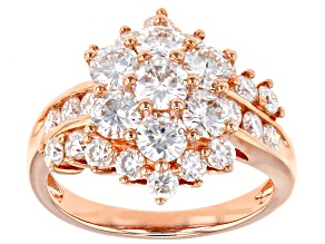 Pre-Owned Moissanite 14k Rose Gold Over Silver Ring 2.91ctw DEW