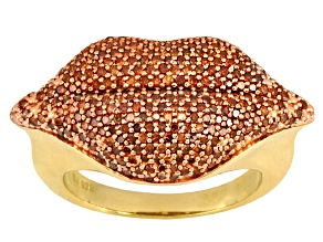 Pre-Owned Sunset Red Diamond™ 1.00ctw Round Engild™ 14k Yellow Gold Over Sterling Silver Lips Ring