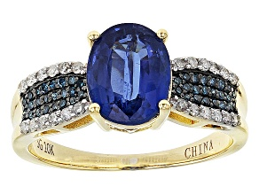 Pre-Owned Blue Kyanite With Blue And White Diamond 10k Yellow Gold Ring 2.47ctw