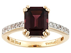 Pre-Owned Grape Color Garnet 10k Yellow Gold Ring 2.96ctw