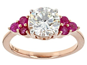 Pre-Owned Moissanite Fire® 1.90ct DEW And .30ctw Ruby 14k Rose Gold Over Sterling Silver Ring