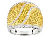 Pre-Owned Yellow And White Diamond Sterling Silver Ring 1.00ctw
