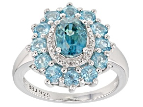Pre-Owned Blue zircon rhodium over sterling silver ring 2.93ctw