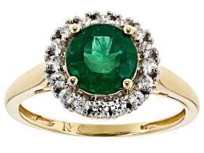 Pre-Owned Green Apaptite And White Zircon 10k Yellow Gold Ring 1.60ctw