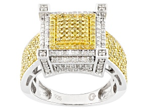 Pre-Owned 1.00ctw Yellow And White Diamonds, Rhodium Over Sterling Silver Ring