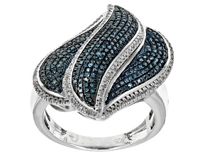 Pre-Owned Blue And White Diamonds Sterling Silver Ring .50ctw