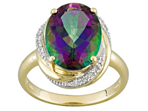 Pre-Owned Mystic Fire® Green Topaz And White Diamond 10k Yellow Gold Ring 6.29ctw