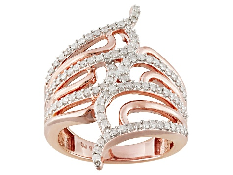Pre-Owned Diamond 14k Rose Gold Over Silver Ring .75ctw