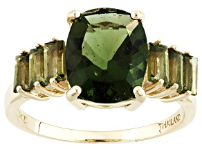 Pre-Owned Green Moldavite 10k Yellow Gold Ring 2.36ctw