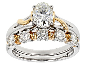 Pre-Owned Moissanite Fire® 2.15ctw DEW Platineve™ With 14k Yellow Gold Accent Over Platineve Ring &