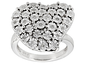 Pre-Owned Diamond Rhodium Over Sterling Silver Ring .20ctw