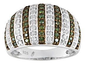 Pre-Owned Green And White Diamond Silver Ring 1.00ctw