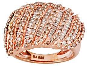 Pre-Owned Champagne Diamond 1.50ctw Round & Baguette Engild™ 14k Rose Gold Over Sterling Silver Band