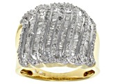 Pre-Owned Diamond 14k Yellow Gold Over Silver Wide Band 1.05ctw