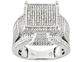 Pre-Owned Diamond Rhodium Over Sterling Silver Ring .60ctw