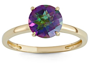 Pre-Owned Mystic® Green Topaz 10kt Yellow Gold Solitaire Ring 2.04ct