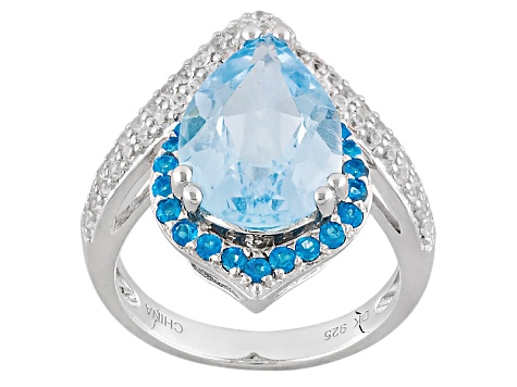 Pre-Owned Sky Blue Topaz Sterling Silver Ring 5.66ctw