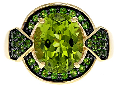 Pre-Owned Green peridot 18k gold over silver ring 4.00ctw