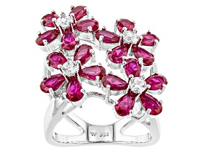 Pre-Owned Lab Created Ruby And White Cubic Zirconia Rhodium Over Sterling Silver Ring 8.43ctw