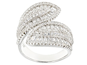 Pre-Owned White Cubic Zirconia Rhodium Over Sterling Silver Ring 4.35ctw