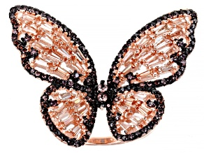 Pre-Owned Mocha & Champagne Cubic Zirconia 18K Rose Gold Over Sterling Silver Butterfly Ring 4.42ctw