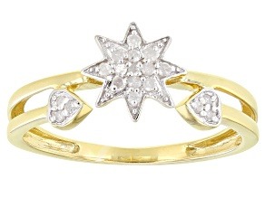 Pre-Owned White Diamond, 14k Yellow Gold Over Sterling Silver Ring 0.10ctw