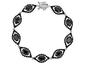 Pre-Owned Black Spinel Sterling Silver Bracelet 19.07ctw