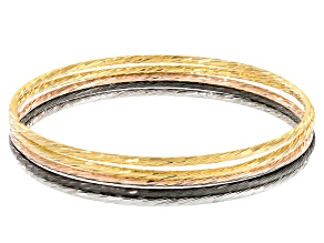 Pre-Owned 18k Yellow Gold 18k Rose Gold And Rhodium Over Bronze Bangle Bracelet