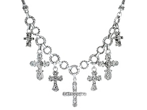 Pre-Owned Sterling Silver Cross Charm Necklace