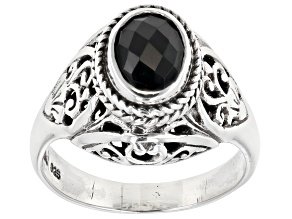 Pre-Owned Black Spinel Sterling Silver Ring 0.64ctw