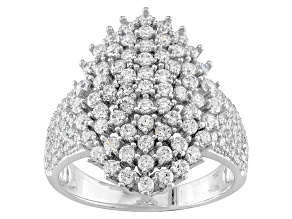 Pre-Owned White Cubic Zirconia Sterling Silver Ring 2.18ctw