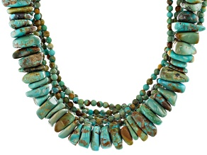 Pre-Owned Turquoise Rhodium Over Silver 8-Strand Bead Necklace