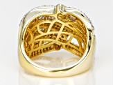 Pre-Owned White Diamond 14k Yellow Gold over Sterling Silver Ring 1.10ctw