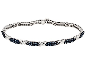 Pre-Owned Blue Diamond Rhodium Over Sterling Silver Bracelet 1.50ctw