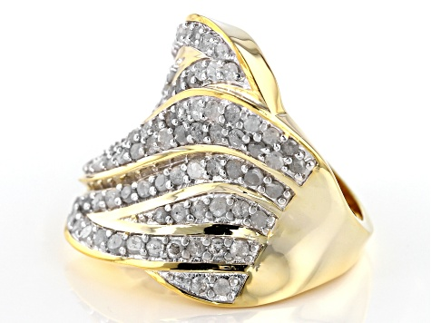 Pre-Owned White Diamond 14k Yellow Gold over Sterling Silver Ring 2.00ctw