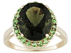 Pre-Owned Moldavite And Tsavorite 10k Yellow Gold Ring 3.55ctw