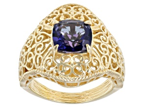 Pre-Owned Blue Cavalier Tanzanite™  Color Quartz 18k Gold Over Silver Ring 2.00ct