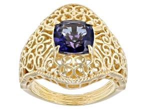 Pre-Owned Blue Cavalier Tanzanite™  Color Quartz 18k Gold Over Silver Ring 2.00ct