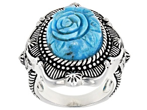 Pre-Owned Turquoise Kingman Rose Rhodium Over Silver Ring